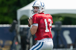 July 28, 2018 - Westfield, IN, U.S. - WESTFIELD, IN - JULY 28: Indianapolis Colts quarterback Andrew Luck (12) runs through a drill during the Indianapolis Colts training camp practice on July 28, 2018 at the Grand Park Sports Campus in Westfield, IN. (Photo by Zach Bolinger/Icon Sportswire) (Credit Image: © Zach Bolinger/Icon SMI via ZUMA Press)