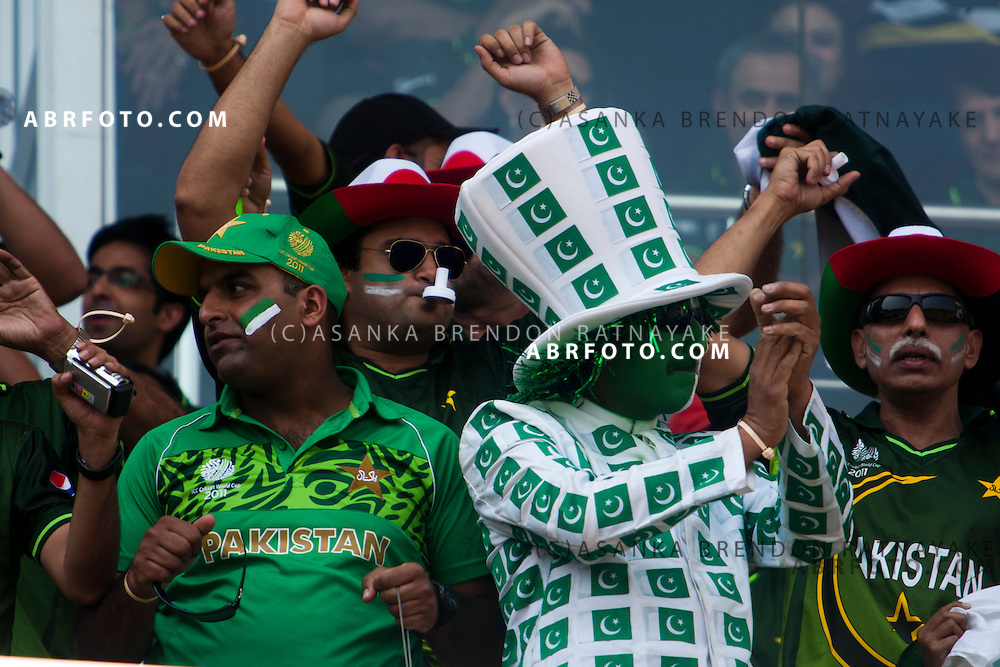 ©London News Pictures. 19/03/2011.Pakistani fans getting jovial just before the start of the game at R.Premadasa Stadium Colombo Sri Lanka