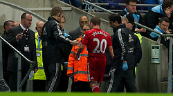 11.01.2012, Etihad Stadion, Manchester, ENG, Carling Cup, Manchester City vs FC Liverpool, Halbfinale, im Bild Liverpool's Jay Spearing walks off the pitch during the football match of English Carling Cup, Halffinal, between Manchester City and FC Liverpool at Etihad Stadium, Manchester, United Kingdom on 2012/01/11. EXPA Pictures © 2012, PhotoCredit: EXPA/ Propagandaphoto/ David Rawcliff..***** ATTENTION - OUT OF ENG, GBR, UK *****