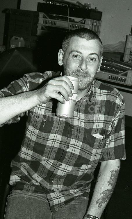 Backstage at an Inspiral Carpets gig, Manchester, UK, circa 1990