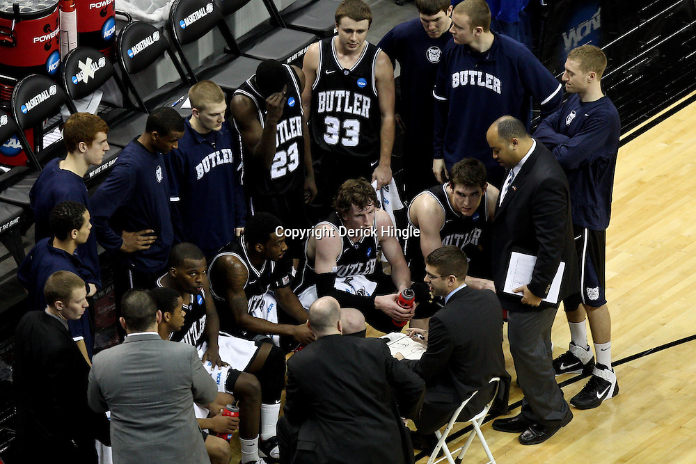 Mar 24, 2011; New Orleans, LA; Butler Bulldogs head coach Brad Stevens talks with his team during the second half of the semifinals of the southeast regional of the 2011 NCAA men's basketball tournament against the Wisconsin Badgers at New Orleans Arena. Butler defeated Wisconsin 61-54.  Mandatory Credit: Derick E. Hingle