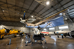 Military aircraft in hanger  on display at National Museum of Flight at East Fortune Airfield in East Lothian, Scotland, United Kingdom