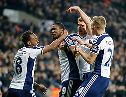 Brown Ideye of West Brom (2L) celebrates with Saido Berahino, James Morrison and Darren Fletcher after scoring a goal to make it 1-0 - Photo mandatory by-line: Rogan Thomson/JMP - 07966 386802 - 11/02/2015 - SPORT - FOOTBALL - West Bromwich, England - The Hawthorns - West Bromwich Albion v Swansea City - Barclays Premier League.