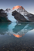 Mount Robson, highest mountain in the Canadian Rockies, elevation 3,954 m (12,972 ft), seen from Berg Lake, Mount Robson Provincial Park British Columbia