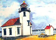 "Point Robinson Lighthouse. Vashon Island, WA. Watercolor. 12x16"".  ©JoAnn Hawkins"