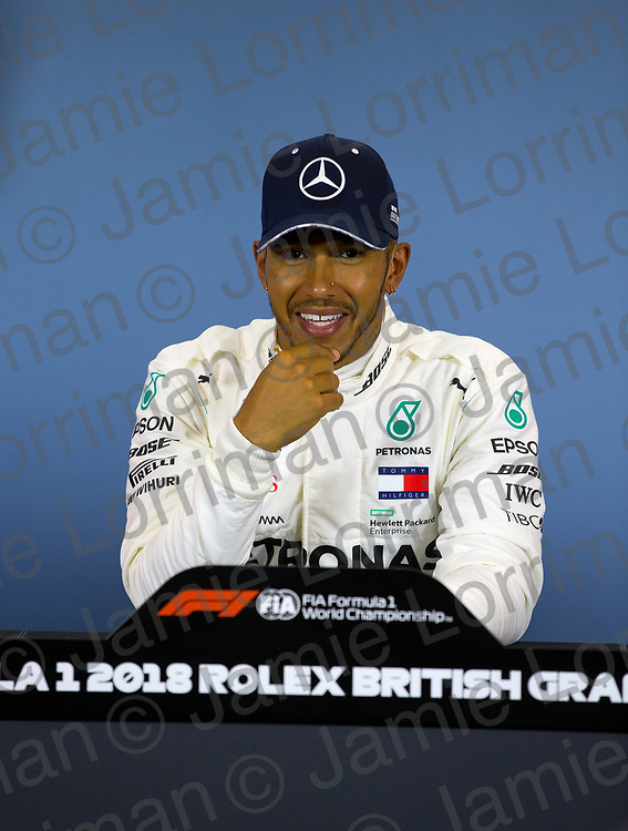 The 2018 Formula 1 F1 Rolex British grand prix, Silverstone, England. Saturday 7th July 2018.<br /> <br /> Pictured: Mercedes AMG Petronas driver Lewis Hamilton speaks at the press conference after qualifying in pole position for tomorrow's British Grand Prix at Silverstone.<br /> <br /> Jamie Lorriman<br /> mail@jamielorriman.co.uk<br /> www.jamielorriman.co.uk<br /> 07718 900288