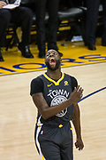 Golden State Warriors forward Draymond Green (23) reacts to a flagrant foul call on him during Game 2 of the Western Conference Quarterfinals against the San Antonio Spurs at Oracle Arena in Oakland, Calif., on April 16, 2018. (Stan Olszewski/Special to S.F. Examiner)
