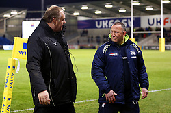 Newcastle Falcons' director of rugby, Dean Richards  talks with Sale Sharks' director of rugby Steve Diamond - Mandatory by-line: Matt McNulty/JMP - 10/02/2017 - RUGBY - AJ Bell Stadium - Sale, England - Sale Sharks v Newcastle Falcons - Aviva Premiership