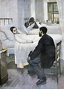 Visiting day in a children's hospital. From 'Le Petit Journal', Paris, 13 May 1893. France, Medicine, Ward,  Parent, Child, Illness