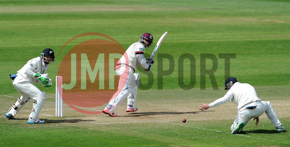 Somerset's Abdur Rehman hits the ball. Photo mandatory by-line: Harry Trump/JMP - Mobile: 07966 386802 - 11/05/15 - SPORT - CRICKET - Somerset v New Zealand - Day 4 - The County Ground, Taunton, England.