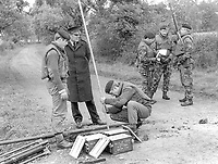 British army sappers prepare to crater a border road between Co Armagh in N Ireland and Co Monaghan in the Rep of Ireland. The cratering was a measure taken to hamper Provisional IRA gun and bomb attacks originating in the Rep of Ireland. 13th October 1971. 197110130427c<br />