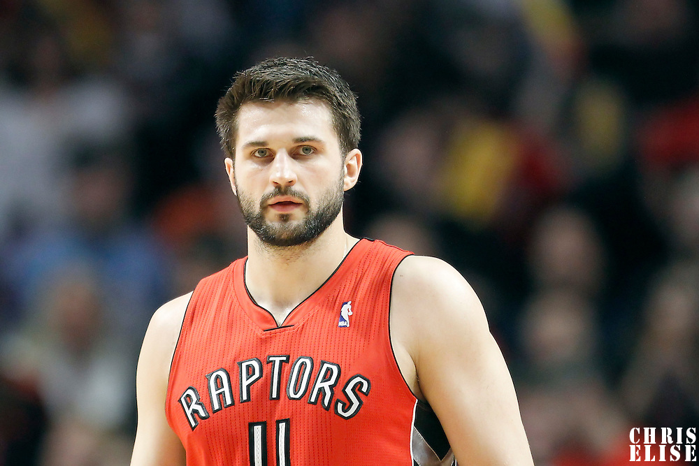 24 March 2012: Toronto Raptors small forward Linas Kleiza (11) is seen during the Chicago Bulls 102-101 victory in overtime over the Toronto Raptors at the United Center, Chicago, Illinois, USA.