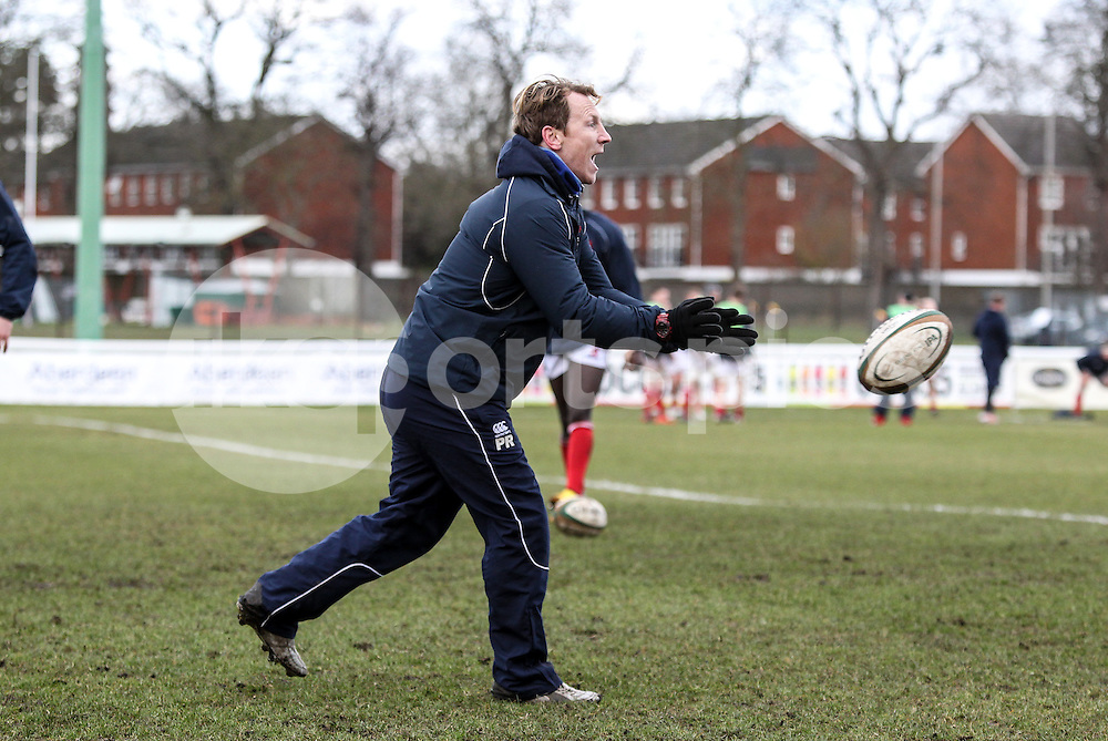 Backs Coach Pete Richards puts the squad through their paces during the Green King IPA Championship match between London Scottish &amp; Moseley at Richmond, Greater London on 21st February 2015<br /> <br /> Photo: Ken Sparks | UK Sports Pics Ltd<br /> London Scottish v Moseley, Green King IPA Championship, 21st February 2015<br /> <br /> &copy; UK Sports Pics Ltd. FA Accredited. Football League Licence No:  FL14/15/P5700.Football Conference Licence No: PCONF 051/14 Tel +44(0)7968 045353. email ken@uksportspics.co.uk, 7 Leslie Park Road, East Croydon, Surrey CR0 6TN. Credit UK Sports Pics Ltd