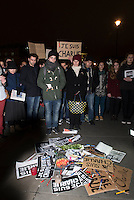 A few hundred people gathered in Trafalgar square following the killings at Charlie Hebdo - a French satirical weekly - offices earlier in the day in Paris. People posed with pens and #jesuisCharlie and #IamCharlie signs.