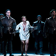 September 23, 2015 - New York, NY : Tamara Mumford, center, performs as Mark Smeaton, the musician, in a dress rehearsal for Gaetano Donizetti's 'Anne Bolena' at the Metropolitan Opera at Lincoln Center on Wednesday. CREDIT: Karsten Moran for The New York Times