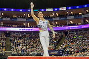 Marcel Nguyen of Germany smiles and waves after his rings routine during the The Superstars of Gymnastics event at the O2 Arena, London, United Kingdom on 23 March 2019.