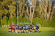 Team talk at the Highlanders Super Rugby Training Session ahead of their match against the Crusaders on Saturday, University Oval, Dunedin, 22 May 2014. Photo: Derek Morrison/www.photosport.co.nz