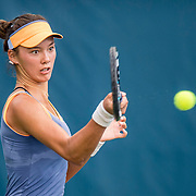 August 20, 2016, New Haven, Connecticut: <br /> Sophie Chang in action during a US Open National Playoffs match at the 2016 Connecticut Open at the Yale University Tennis Center on Saturday, August  20, 2016 in New Haven, Connecticut. <br /> (Photo by Billie Weiss/Connecticut Open)