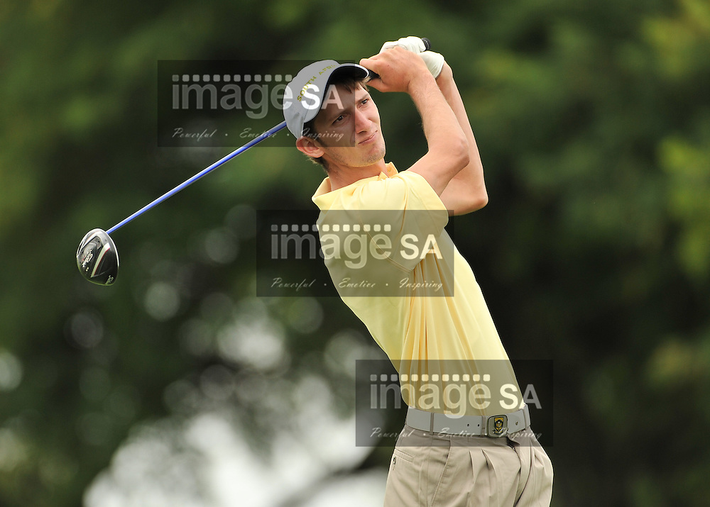 MALELANE, SOUTH AFRICA - Wednesday 18 February 2015, Matthew Spacey tees off on the 9th during the first round foursomes of the annual Leopard Trophy, a two day test between teams of the South African Golf Association and the Scottish Golf Union, at the Leopard Creek Golf Estate.<br /> Photo Roger Sedres/ Image SA