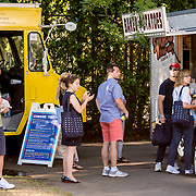 August 22, 2016, New Haven, Connecticut: <br /> Fans enjoy the food trucks during Day 4 of the 2016 Connecticut Open at the Yale University Tennis Center on Monday August  22, 2016 in New Haven, Connecticut. <br /> (Photo by Billie Weiss/Connecticut Open)