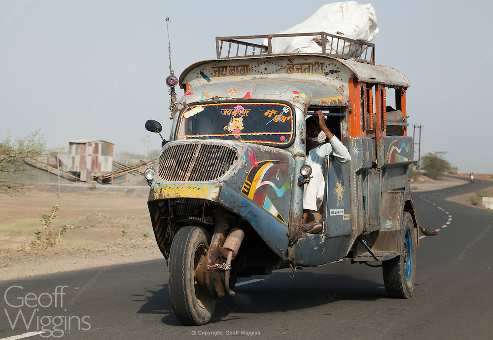 Vintage Indian Tempo Taxi bus in rural Madhya Pradesh, India