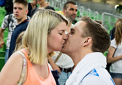 Jani Kovacic of Slovenia with his girlfriend after the volleyball match between National teams of Slovenia and Portugal in 2nd Round of 2018 FIVB Volleyball Men's World Championship qualification, on May 26, 2017 in Arena Stozice, Ljubljana, Slovenia. Photo by Vid Ponikvar / Sportida