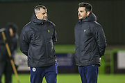 Forest Green Rovers U18 manager Chris Barker and Forest Green Rovers Sports and Science Tom Shaw during the FA Youth Cup match between Forest Green Rovers and Helston Athletic at the New Lawn, Forest Green, United Kingdom on 29 October 2019.