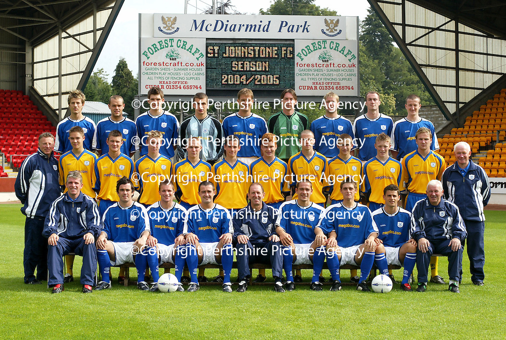 St Johnstone FC Photocall 2004-2005 season.<br />Back row from left, Lee Hardy, Martin Fotheringham, Sean Webb, Kevin Cuthbert, Ian Maxwell, Craig Nelson, Kevin Rutkiewicz, Michael Moore and Chris Hay.<br />Middle row from left, Nick Summersgill (Physio), Stephen Fraser, Willie Dyer, Andy Jackson, Blair Batchelor, Kevin Moon, Stevie McManus, Eddie Malone, Paddy Deery, Mark Baxter, Ryan Stevenson and Jocky Peebles (Asst Physio)<br />Front row from left, Jim Weir (Asst Manager), Stephen McConalogue, Jordan tait, David Hannah (Captian) John Connolly (Manager), Paul Bernard, Ross Forsyth, Colin Marshall and Tommy Campbell (Youth Development Manager).<br />Picture by Graeme Hart.<br />Copyright Perthshire Picture Agency<br />Tel: 01738 623350  Mobile: 07990 594431