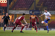 Bury defender Danny Pugh  plays the ball through during the The FA Cup match between Bradford City and Bury at the Coral Windows Stadium, Bradford, England on 19 January 2016. Photo by Simon Davies.
