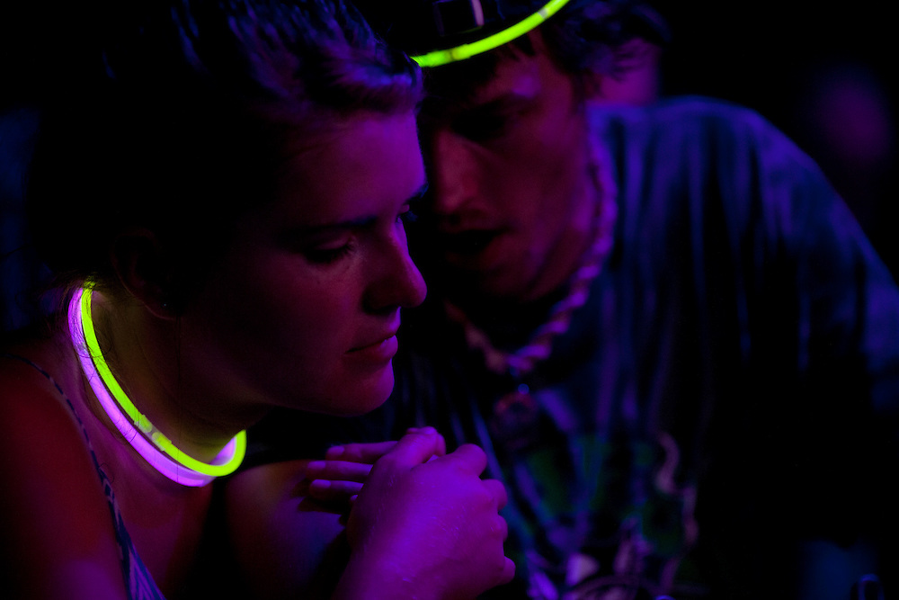 A couple enjoys Euforquestra's first of two shows at Camp Euforia on Friday, July 17, 2015.