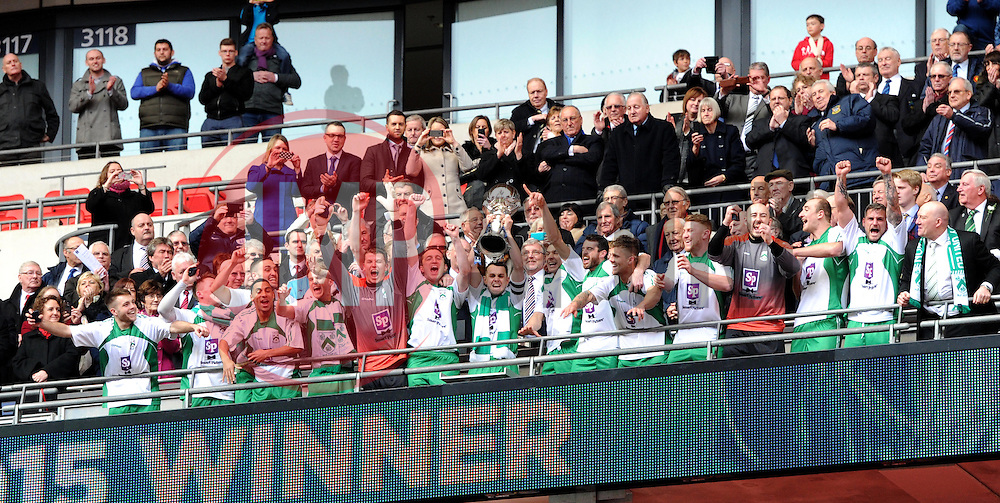 North Ferriby captain Liam King and team mates proudly receive the FA Trophy - Photo mandatory by-line: Paul Knight/JMP - Mobile: 07966 386802 - 29/03/2015 - SPORT - Football - London - Wembley Stadium - North Ferriby United v Wrexham - FA Trophy