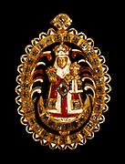 Pendant with Virgin and Child.  Enameled gold set with diamonds and a ruby. Spanish, probably first half of 17th century.