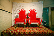 sofas arranged for traditional hindu marriage, delhi, india