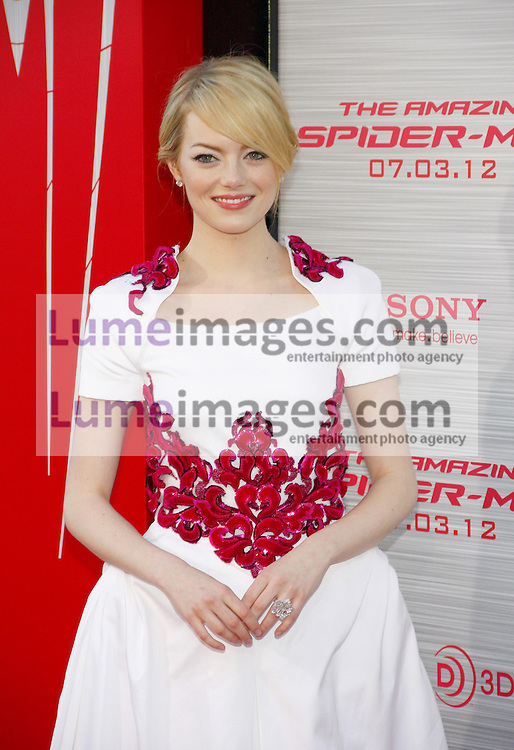 Emma Stone at the Los Angeles premiere of 'The Amazing Spider-Man' held at the Regency Village Theatre in Westwood on June 28, 2012. Credit: Lumeimages.com
