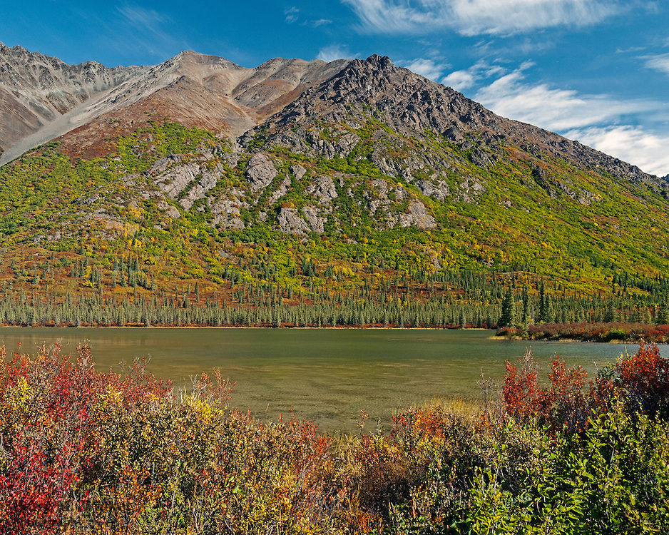 Unnamed lake north of Denail Highway with Clearwater Mountains background; Alaska
