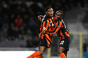Luiz Adriano (L) celebrates scoring the opening goal with Willian. Toulouse v Shakatar Donestk, Uefa Europa League, Stade Municipal, Toulouse, France, 5th November 2009.