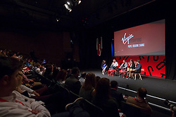 EDITORIAL USE ONLY<br /> (Left to right) Holly Ransom CEO at Emergent, Sir Richard Branson, Solly Solomou co-founder of The LAD Bible, Emma Sinclair founder of EnterpriseJungle and Peter Smith CEO at Blockchain speak at the Virgin Disruptors conference, which discusses innovation and change across the business world, at The Mermaid Theatre, in London.