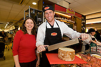 Noreen O Connor from Claregalway  and Connacht Rugby's Gavin Duffy,  at the opening of Horgan's Delicatessen Suppliers' first ever Food Emporium at Joyce's Supermarket, Knocknacarra, Co Galway.  The initiative marks Horgan's first Food Emporium Concept Store and cements a longstanding relationship with Joyce's Supermarket Group..Photo:Andrew Downes