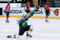 Bojan Zajc celebrates during ice-hockey friendly match between legends of HDD Tilia Olimpija and HK Acroni Jesenice, on April 14, 2012 at SRC Stozice, Ljubljana, Slovenia. (Photo By Matic Klansek Velej / Sportida.com)