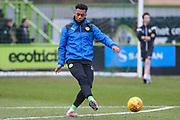 Forest Green Rovers Tahvon Campbell(25) warming up during the EFL Sky Bet League 2 match between Forest Green Rovers and Cambridge United at the New Lawn, Forest Green, United Kingdom on 20 January 2018. Photo by Shane Healey.