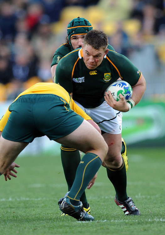 South Africa's John Smit against Australia in the Rugby World Cup quarter final match at Wellington Stadium, Wellington, New Zealand, Sunday, October 09, 2011. Credit:SNPA / Ross Setford