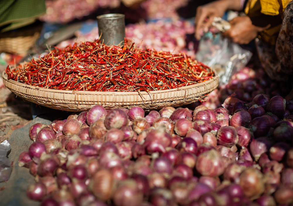 Basket of chillies at local market in Inle Lake (Myanmar)