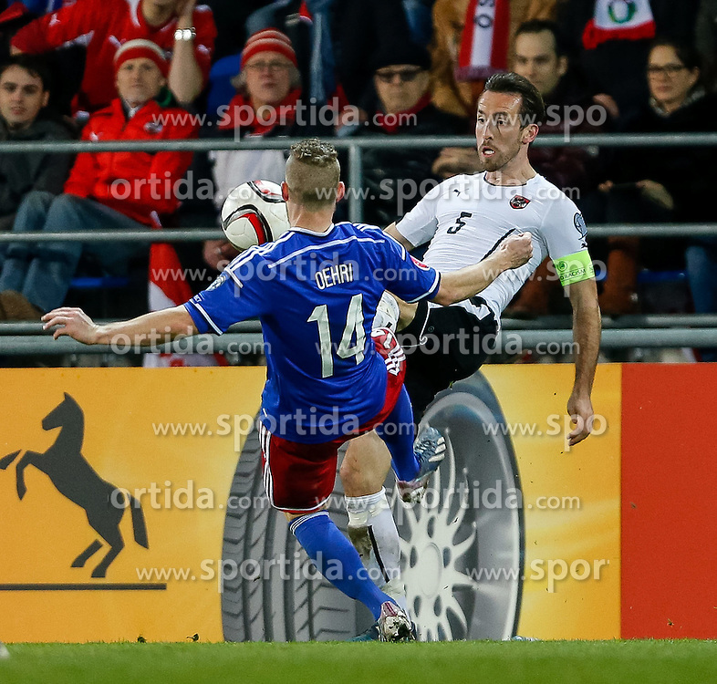 27.03.2015, Rheinpark Stadion, Vaduz, AUT, UEFA Euro 2016 Qualifikation, Liechtenstein vs Oesterreich, Gruppe G, im Bild Yves Oehri (Liechtenstein) und Christian Fuchs (Oesterreich)// during the UEFA EURO 2016 qualifier group G match between Liechtenstein and Austria at the Rheinpark Stadium, Vaduz, Liechtenstein on 2015/03/27. EXPA Pictures © 2015, PhotoCredit: EXPA/ Peter Rinderer