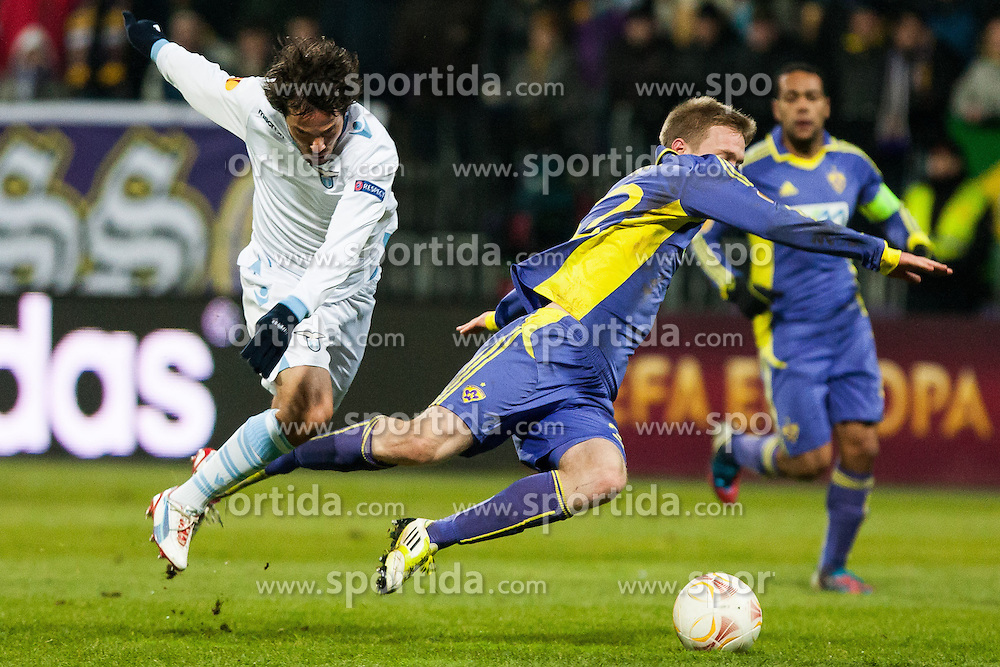 Alvaro Gonzalez #15 of S.S. Lazio and Robert Beric #32 of Maribor during football match between NK Maribor and S. S. Lazio Roma  (ITA) in 6th Round of Group Stage of UEFA Europa league 2013, on December 6, 2012 in Stadium Ljudski vrt, Maribor, Slovenia. (Photo By Gregor Krajncic / Sportida)