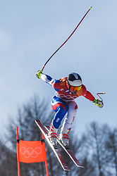 February 15, 2018 - Jeongseon, Gangwon, South Korea - Maxence Muzaton of  France competing in mens downhill at Jeongseon Alpine Centre at Jeongseon , South Korea on February 15, 2018. (Credit Image: © Ulrik Pedersen/NurPhoto via ZUMA Press)