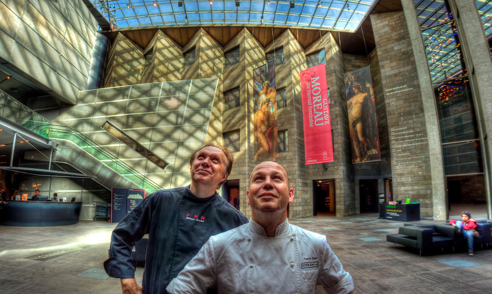 Chefs Phillippe Michel and Terry Clark at the National Gallery of Victoria where they will cook for a competition winner and ten friends later this month. Pic By Craig Sillitoe CSZ/The Sunday Age 1/1/2011 melbourne photographers, commercial photographers, industrial photographers, corporate photographer, architectural photographers, This photograph can be used for non commercial uses with attribution. Credit: Craig Sillitoe Photography / http://www.csillitoe.com<br />