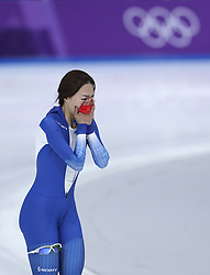 PYEONGCHANG, Feb. 18, 2018  South Korea's Lee Sang-Hwa reacts after finishing ladies' 500m final of speed skating at the 2018 PyeongChang Winter Olympic Games at Gangneung Oval, Gangneung, South Korea, Feb. 18, 2018. (Credit Image: © Han Yan/Xinhua via ZUMA Wire)