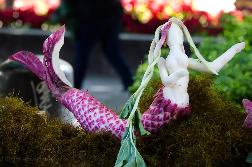 Mermaid carved from radishes for Noche de Rabanos, Oaxaca, Mexico.
