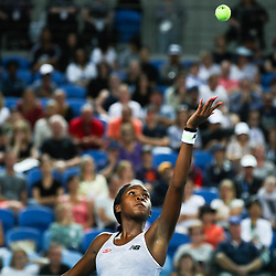 Tennis: open de Melbourne. (200120) -- MELBOURNE, Jan. 20, 2020 (Xinhua) -- Cori Gauff of the United States serves during the first round of women's singles match between Cori Gauff of the United States and Venus Williams of the United States at 2020 Australian Open in Melbourne, Australia, Jan. 20, 2020. (Xinhua/Wang Jingqiang)<br /> <br /> <br /> <br /> 250084 2020-01-20  MELBOURNE <br /> <br /> Photo by Icon Sport - Cori GAUFF