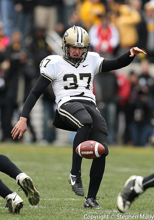 15 NOVEMBER 2008: Purdue punter Carson Wiggs (37) kicks a 34 yard punt in the second half of an NCAA college football game against Purdue, at Kinnick Stadium in Iowa City, Iowa on Saturday Nov. 15, 2008. Iowa beat Purdue 22-17.